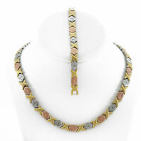 "XOXO Womens 3 Tone Hugs & Kisses Necklace Stainless Steel 20"" SB Bracelet Set"