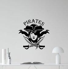 Pirates Wall Decal Sea Nursery Poster Vinyl Sticker Decor Girl Art Mural 81bar
