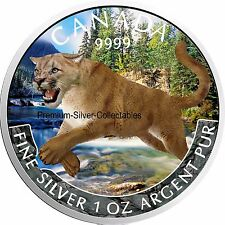 "2016 Canada Predator Colorized Cougar Series ""Spring""  1 Ounce Pure Silver Coin"