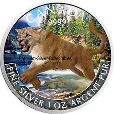 """2016 Canada Predator Cougar Colorized Series """"Spring""""  1 Ounce Pure Silver Coin"""
