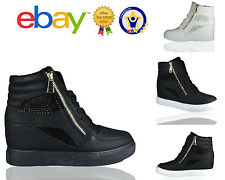 LADIES HIGH TOP ANKLE SPORTS WEDGE TRAINER STUDDED DIAMANTES  ZIP SIZE SHOE 3-8