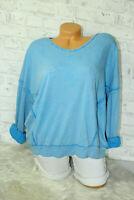 Italy New Sweat Sweatshirt Oversized Gr. 36 38 40 42 blogger Pulli kobalt blau