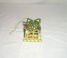 VTG Metal Cut 3D Christmas Tree Ornament Bell Santa Sleigh Reindeer Figurine