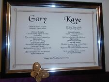 "GOLD EDGED DOUBLE NAME SCROLL FOR 50th WEDDING ANNIVERSARY ""GOLDEN ANNIVERSARY"""