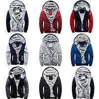 Men Winter Warm Fleece Fur Casual Thermal Hoodie Zip Up Coat Outwear Jacket Top