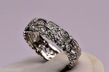 (JFJ)Vintage Diamond Eternity Leaf Wedding Band Platinum Ring - P1