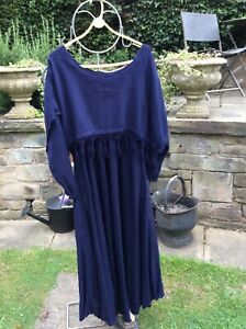 Hampstead Bazaar maxi blue cotton and rayon hand woven dress (M/L)