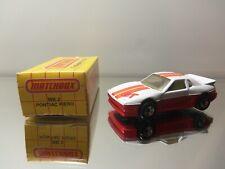 1983 Matchbox Pontiac Fiero GT MB2 - White W/ Stripes - Mint Loose W/ Box 1/56 S