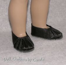 """Pleated Black Dress Ballet Flats Shoes fit 18"""" American Girl Dolls"""
