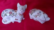 "FINE PAIR OF AYNSLEY , "" COTTAGE GARDEN "" BONE CHINA , CAT & PIG TRINKET DISHES."