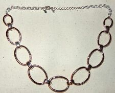 PREMIER DESIGNS GILFORD NECKLACE SILVER PLATED OVAL HOOPS CIRCLES BIG LINKS