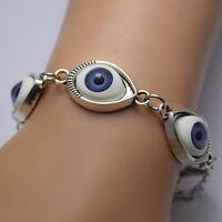 NEW Lucky Gold/Silver Evil Eye Chain Bracelet Cuff Bangle Women Jewelry LY