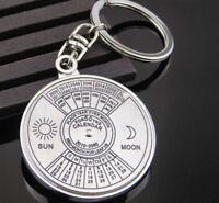 Vintage Keyring Key Calendar Years Keyfob Perpetual Keychain Chain Silver Craft