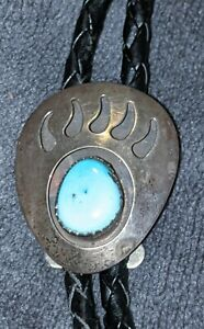 VINTAGE STERLING SILVER TURQUOISE BEAR PAW  BOLO TIE SLIDE & CORD