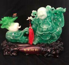 Green Jade Buddha On Clear Crystal Base Feng Shui Good Luck Money (11x11x19cm H)