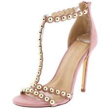 Liliana Tisha-69 Dusty Pink Strappy Studded Decor Open Toe single sole high heel
