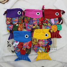 Wholesale 5 PCS CHINESE national HANDMADE FISH FLAX POUCHES HANDBAG Sling Bag