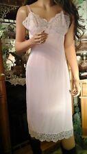 Vtg Hollywood Vassarette 50'S Pinup Nightie Full Slip Pink Nylon Tricot Med 36