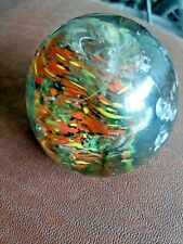 Vintage Old Collectible Fine Round Colorful Design Solid Glass Paper Weight Rare