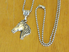 Western/Cowboy/Horse Lover/Riding Pendant Charm Necklace Silver-Tone/Ball Chain