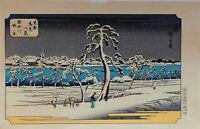 """Véritable Estampe Japonaise De Hiroshige """"Le quai de la rivière Sumida"""""""