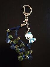 New SAnrio Hello Kitty Key Chain Blue Beads 3D Body #13