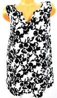 Lane bryant white black floral print v cut stitched sleeveless top 18/20