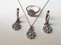 Turkish 925 Sterling Silver White Topaz Handmade Hurrem Sultan Set Rose Gold Plt