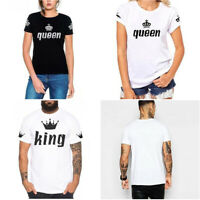"""Women's/Men's Couples T Shirt """"queen/king"""" TEE Short Sleeve Polyester S-4XL"""