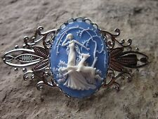 GODDESS DIANA THE HUNTRESS CAMEO SILVER FILIGREE BARRETTE - DEER - SKY BLUE