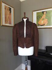 Vintage Brown Faux Leather Lace Peplum Jacket Ladies Size XL