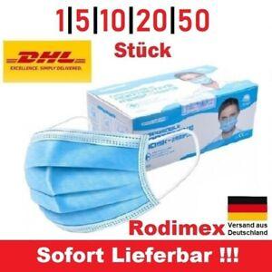 Mundschutz Maske OP. Einweg Gesichtsmaske Mund-Nasen-Schutz 3-lagig Hygiene Blau