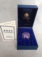 Rare Cased Halcyon Days 21 Birthday Anniversary Blue & Gold Enamel Pill Ring Box