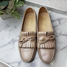 Tod's Women's Sz 38.5 (8.5) Gold/Champagne Slip On Kiltie Moccasin Driving Shoes