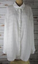 JM Collection Woman Plus 22W Ivory Long Sleeve Linen Button Front Tunic Shirt