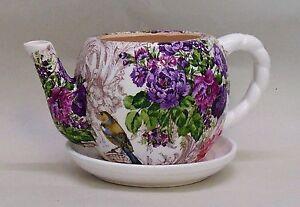 "Made To Order, Handmade Decoupage Ceramic Teapot Planter, Birds, Floral, 4"""