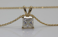 1CT MOISSANIT  SOLITAIRE PENDANT NECKLACE  CHAIN  SOLID 14K YELLOW GOLD