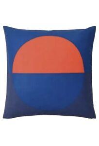 "IKEA Majalotta Cushion Pillow Cover Blue and Bright Orange 20x20"" Square New"