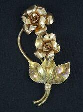 "LARGE VINTAGE 50's ENAMEL COPPER ROSE BOUQUET FLOWER BROOCH PIN ~  3"""