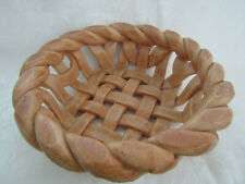 "Handcrafted Braided & Woven Tan Beige Bread Fruit Bread Dough 11.5"" Basket Bowl"