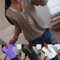Plus Size Women Casual T-Shirt Blouse Sequin V Neck Long Sleeve Tops Pullover