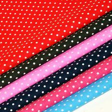 POLKA DOT FABRIC 4mm Spots Spotty Dotty Polycotton PINK RED BLUE