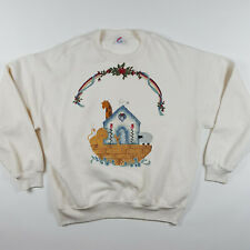 VTG Noah's Ark USA Made Soft Jerzees Religious Retro Grannie Sweatshirt Size XL