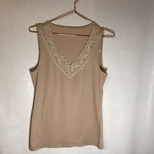 Ann Taylor factory v neck lace trim tank NWT Small