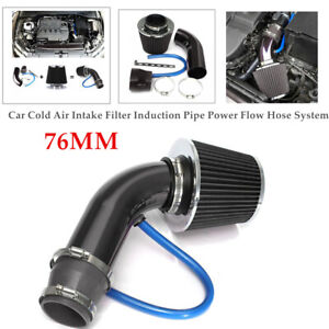 Car 76mm Cold Air Intake Filter Pipe Induction Kit Power Flow Hose System Part
