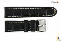 Bandenba 24mm Genuine Black Crocodile Grain Leather White Stitched Watch Band