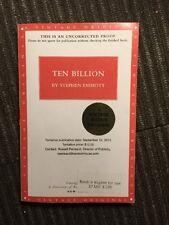 Ten Billion by Stephen Emmott 1st Ed Uncorrected Copy  (2012, Paperback)