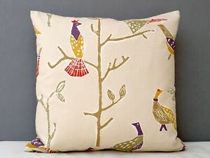 Scion Passaro Designer Cushion Cover Birds Terracotta/Natural Back Romo Linen