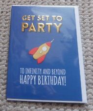 GET SET TO PARTY Rocket Happy Birthday Blank Card