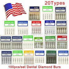 100 Dental Diamond Burs Flat-end Tapered Medium FG1.6M for High Speed Handpiece